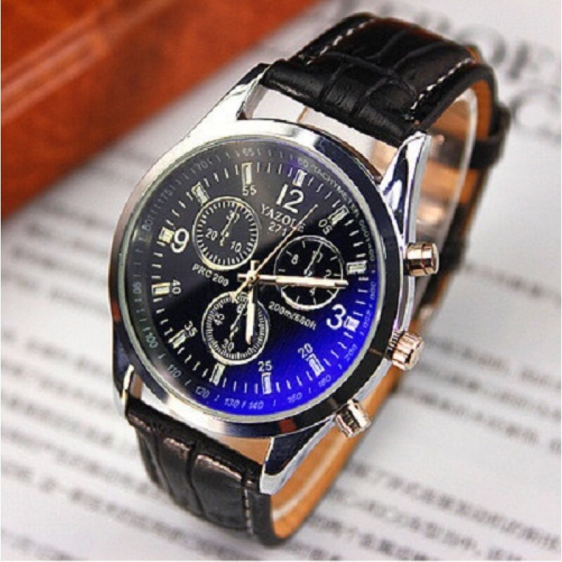 Yazole Brand 271 Men Boy Fashion Military Classic Leather Watch(Black Black) Malaysia