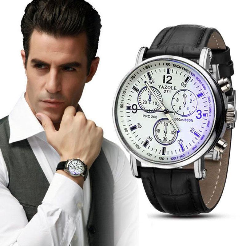 Yazole Brand 271 Men Boy Fashion Military Classic Leather Watch(White Black) Malaysia