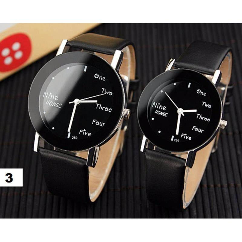 YAZOLE Quartz Sports Fashion Casual Round Leather Watch Unisex Analog Women Men Couple Wrist Watch (Black/ Black) Malaysia