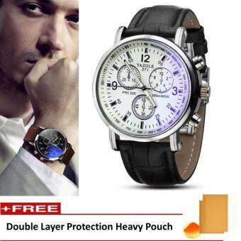 Yazole Vintage Unisex Leather Band Stainless Steel Sport MilitaryQuartz Wrist Watch (Black&White)