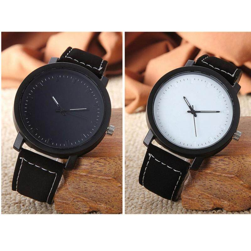 YBC 1 Pair Simple PU Leather Couple Watch Personality Dial Casual Wristwatch Malaysia