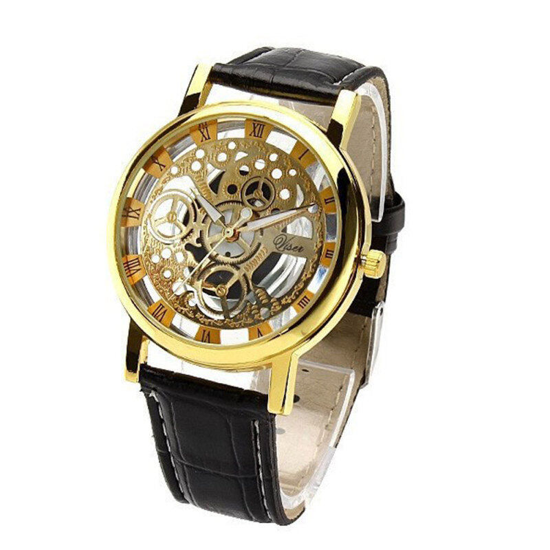 YBC Fashion Non Mechanical Hollow Watch With Imitation Leather Band Strap Black Malaysia