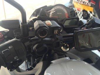 Yika 12V USB Waterproof Power Port Outlet Socket Kit For Motorcycle(Black) - 3