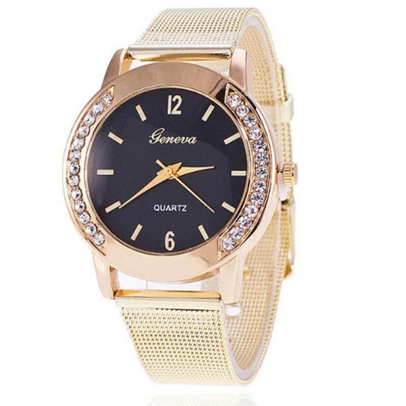 YingWei Unisex Fashion Classic Quartz Wrist Watch Mesh with Diamond Watch(Black,Gold) Malaysia