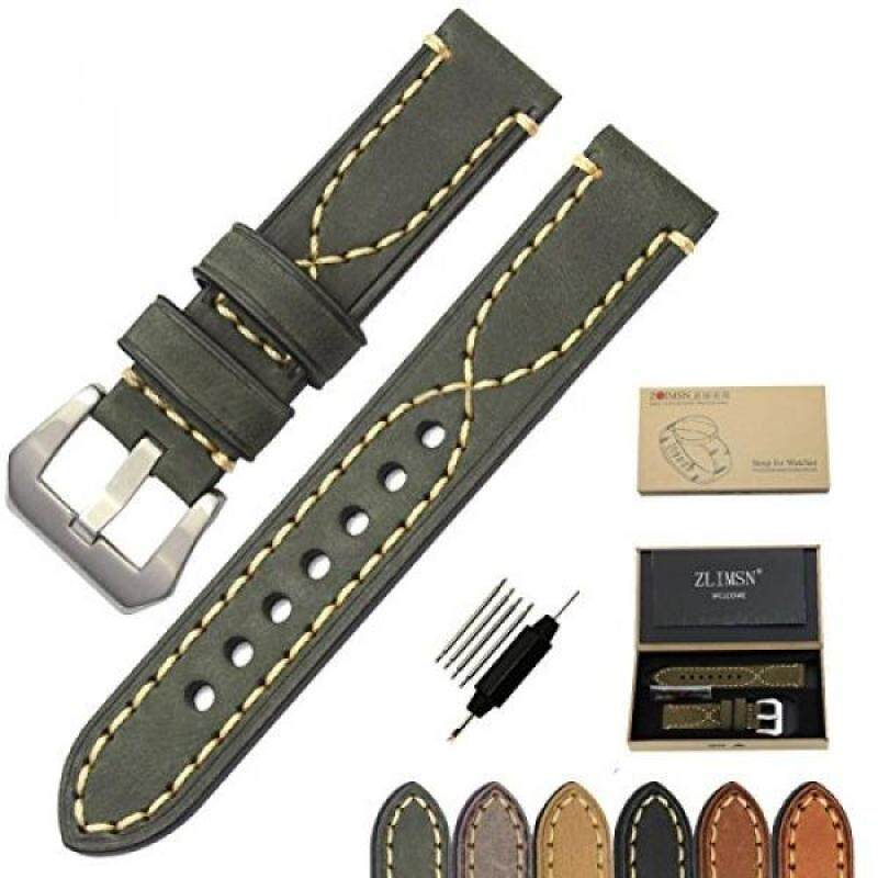 ZLIMSN Genuine Leather Watchbands for Men 20mm 22mm 24mm 26mm Wristwatch Watch Band Belt Black Brown Strap Replacement (22mm, Green) Malaysia