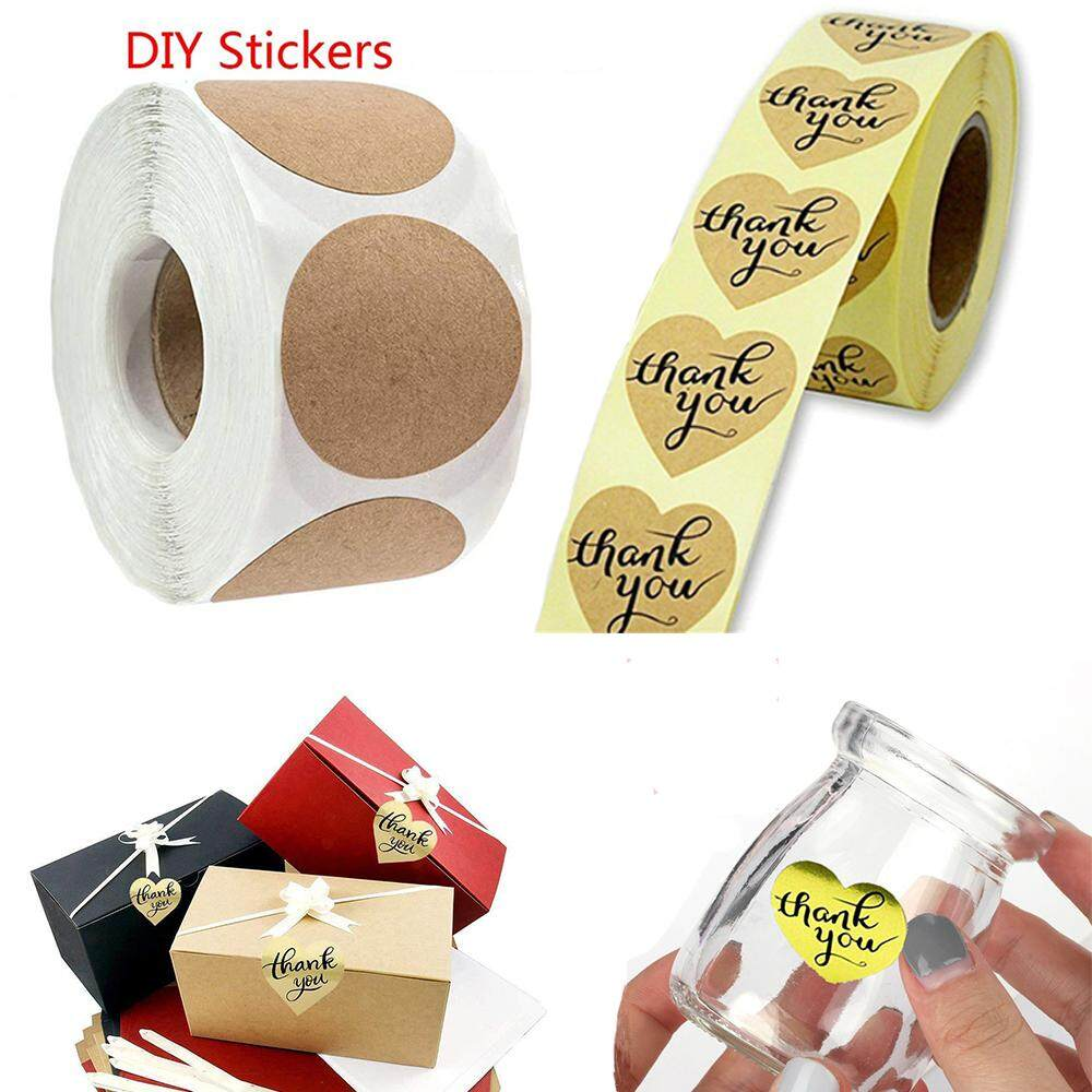 50 x HANDMADE WITH LOVE Kraft Brown Round Labels Seals Gift Wrap Favours 2.5cm