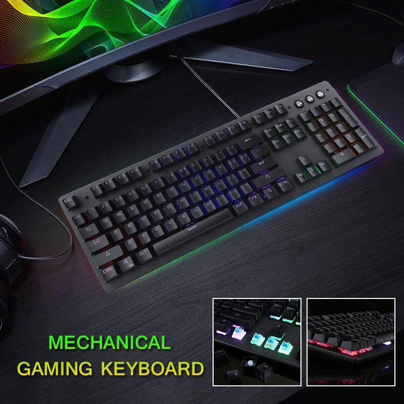 Professional Mechanical Keyboard 104 Keys Outemu Blue Switch RGB Backlight  USB Computer PC Typing Electronic Sports Adjustable Gaming Keyboard Full