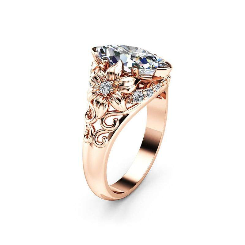 Modyle 2018 New Fashion Clear CZ Stone Rose Gold Color Flower Wedding Rings  For Woman Dropshipping