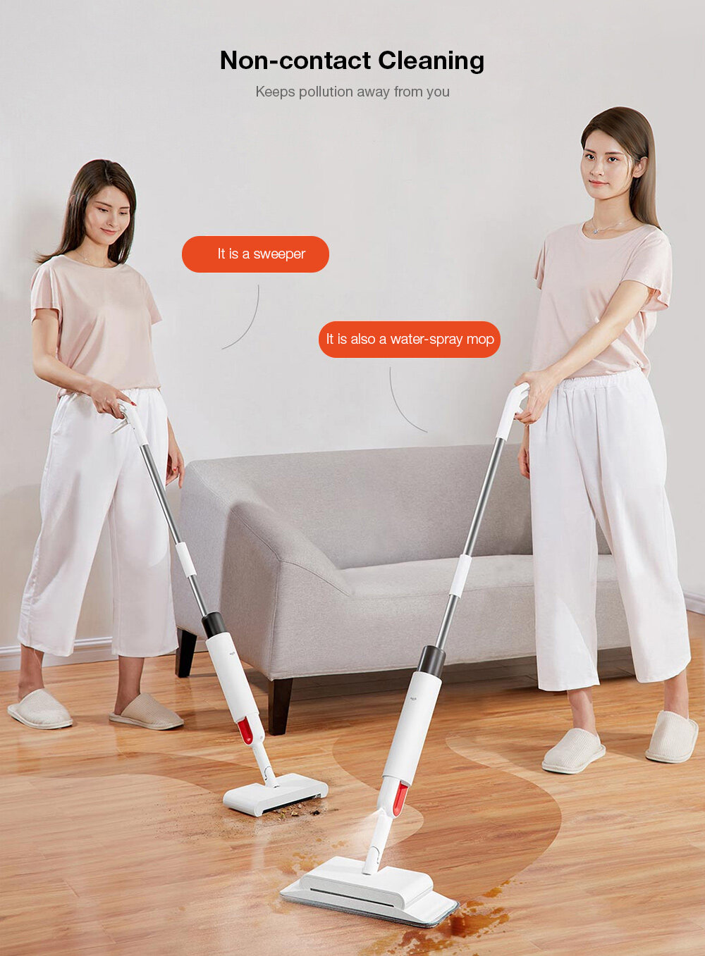 Deerma TB900 Multifunction Water-spray Mop Sweeper 230ml Dustbin 280ml Watertank Rotatable Design
