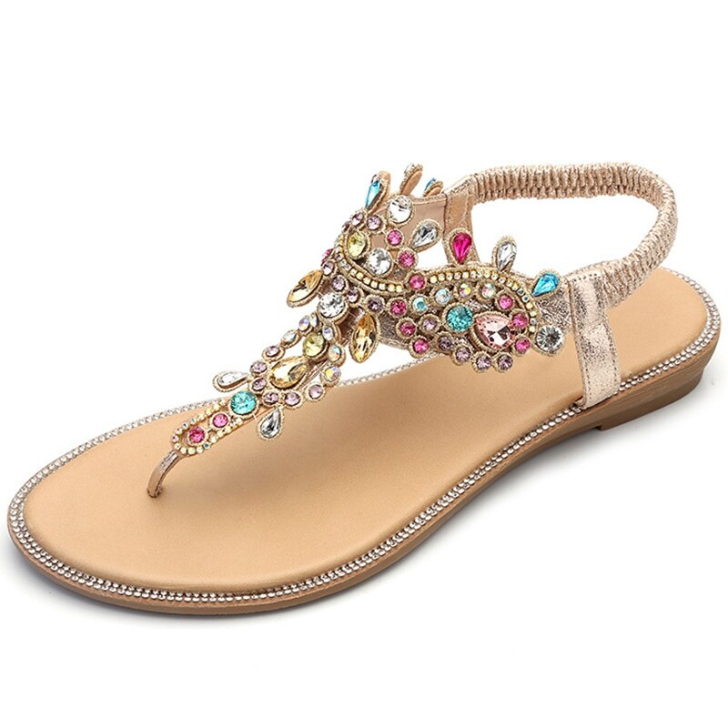 Ladies Womens Flat Comfort Diamante Summer Beach Sandals Shoes Size
