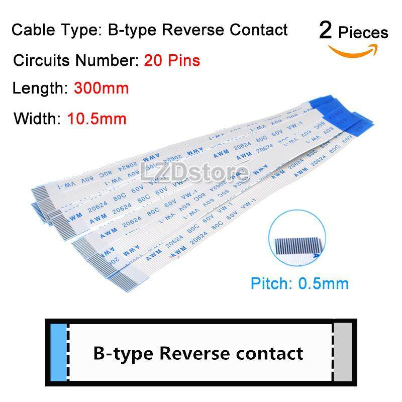 Pack of 5 50P 50-Pin FPC Cable 0.5mm Pitch 10CM