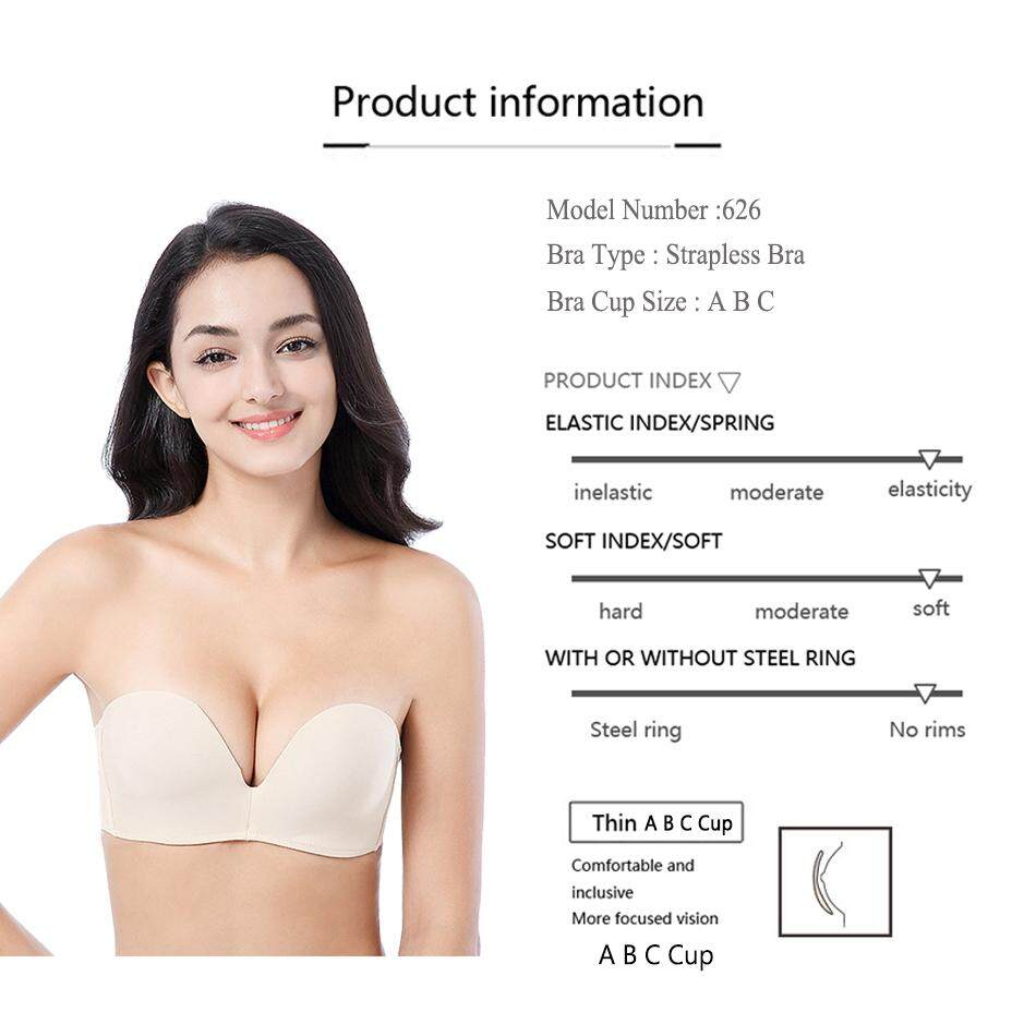 864cbac18 Specifications of FallSweet Women Invisible Push Up Bras Strapless Demi Bra  Antil Slip Seamless Brassiere A B C Cup