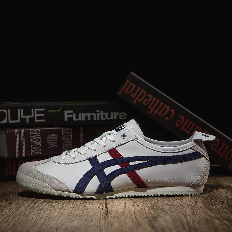 the best attitude 1b2b2 acb33 Tiger Loafer Shoes Asic Women and Men Onisuka Tiger Sports Shoes Running  Shoes MEXICO 66 D832L Leather Shoes(classcial white)