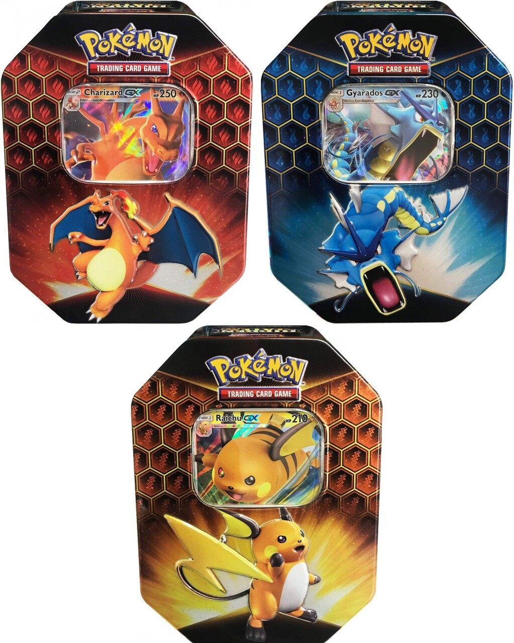 Pokemon TCG Hidden Fates Tins All 3 included Gyarados and Raichu Charizard