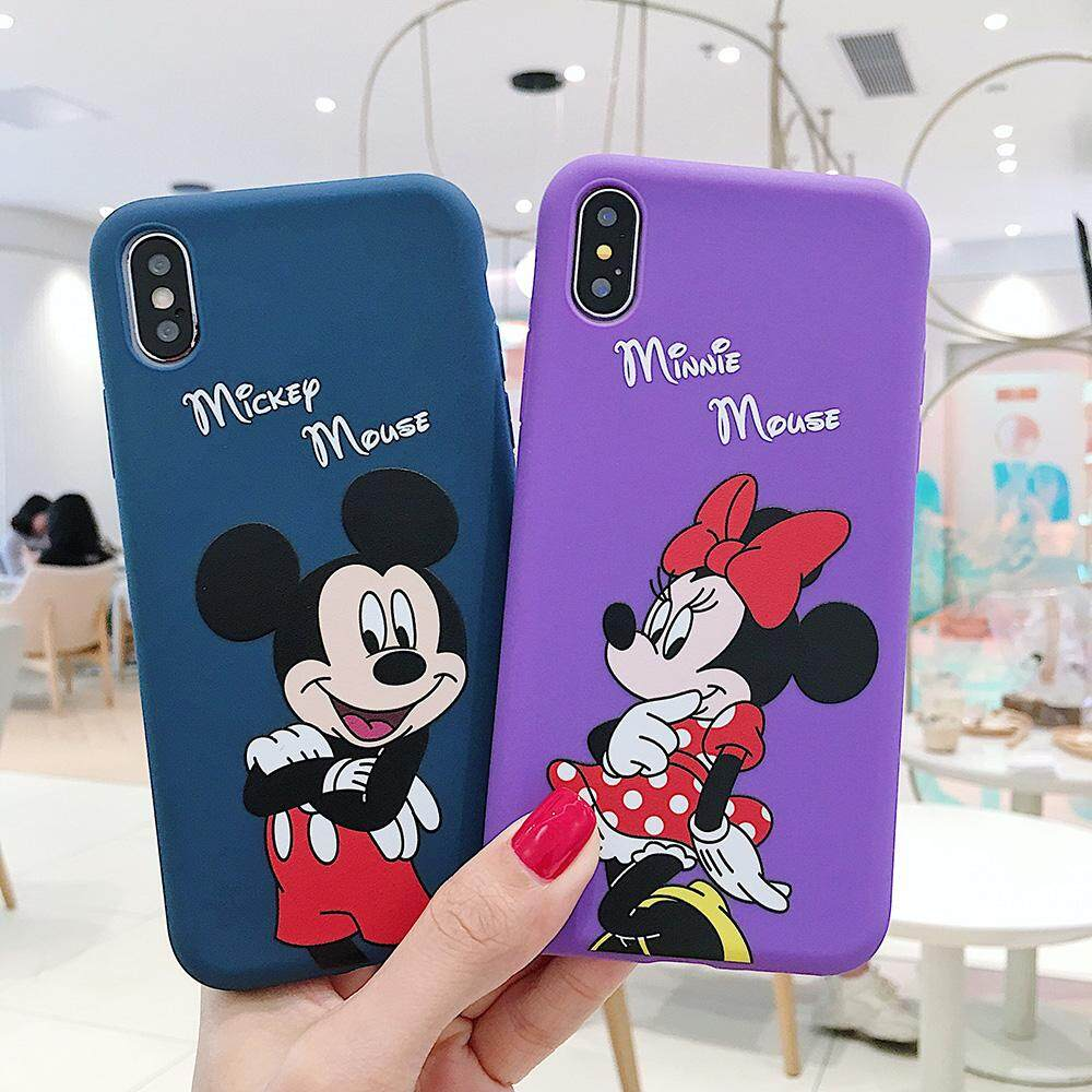 best loved 1aa3e 8a56e Cartoon Lovely Mickey Minnie Mouse Phone Case for iPhone 6 6S Plus 7 8 Plus  Soft Silicone Macaron Candy Color Back Cover for iPhone X XR XS Max