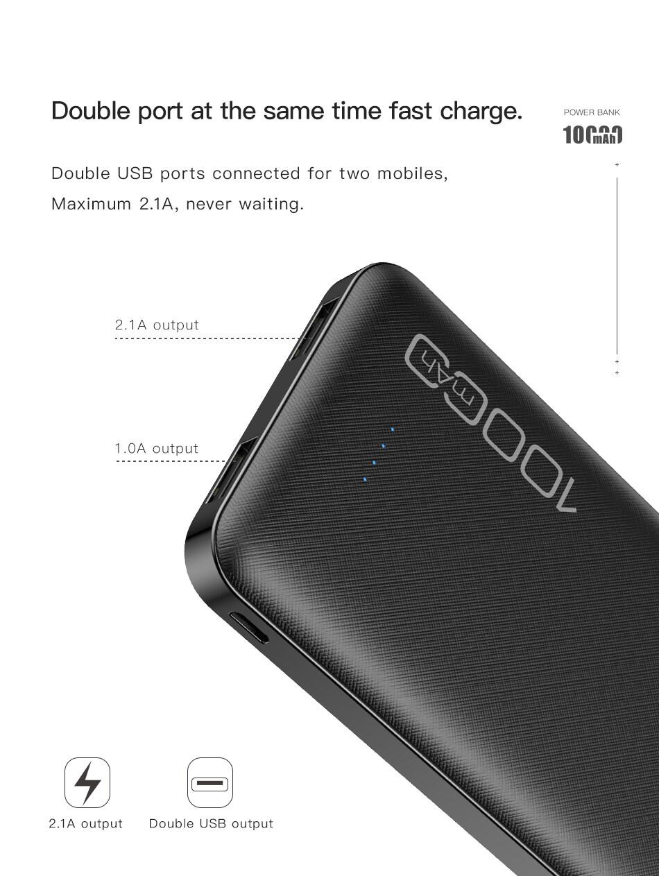 Sạc Dự Phòng Awei P28K, Poverbank Sạc Nhanh 10000MAh Sạc Di Động Pin Kép USB 2.1A Bên Ngoài, Dành Cho Xiaomi iPhone 11 4