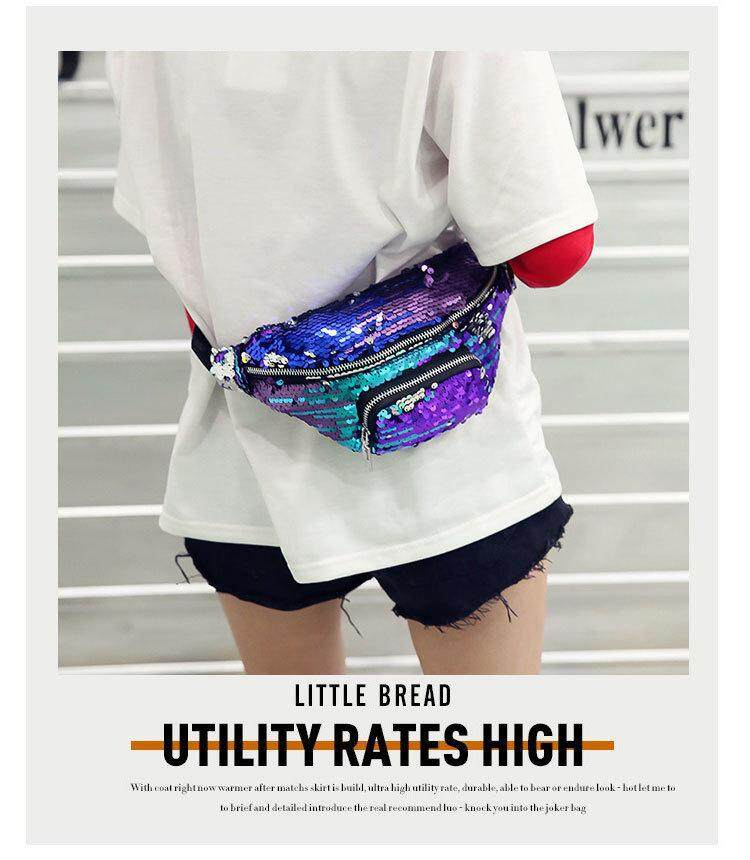 f8c97bbdbd5f Unisex Mermaid Sequin Waist Pack Fanny Bag Sport Bag Outdoor Travel  Crossbody Bags