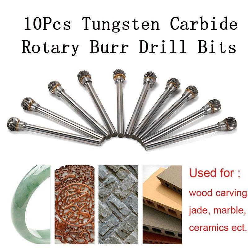 "10Pcs 6MM Carbide Steel Carving Cut Drill Bits Rotary Tool 1//8/"" Shank Ball Shape"