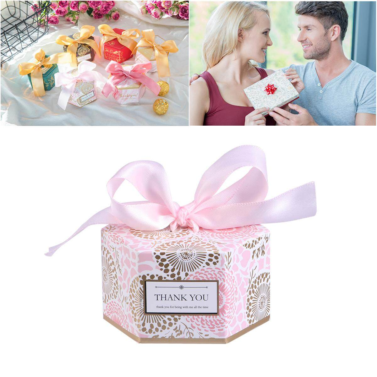 Eshopdeal 20pcs Candy Box Hexagonal Gift Box With Ribbon Decent Chocolate Treat Boxes Wedding Party Favors Small Size
