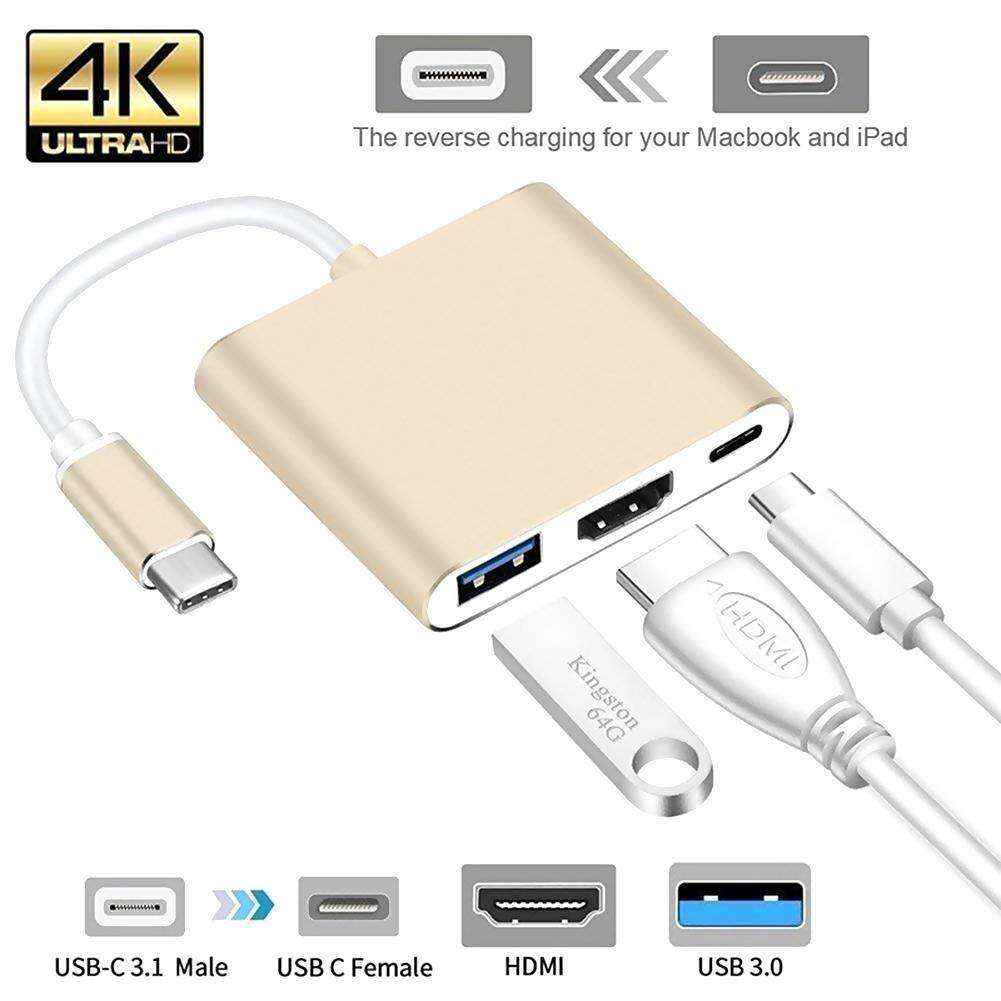 USB 3.1 Type C Male to HDMI Female Adapter Cord with Micro USB Charging Port