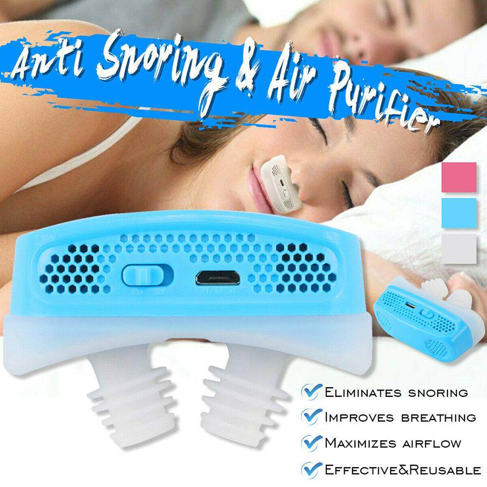 Micro CPAP Anti Snoring Electronic Device for Sleep Apnea Stop Snore Aid  Stopper (Blue)