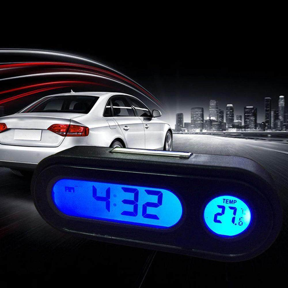 DS Car Mini Electronic Clock Time Watch Auto Dashboard Clocks Luminous  Thermometer Black Digital Display Car Accessories