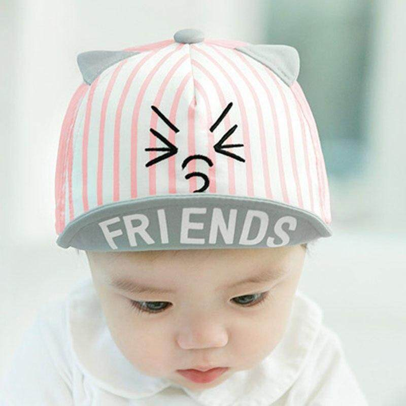 667a8c8a2 Cartoon Cat Newborn Hats Baby Boy Girl Baseball Cap Infant Summer Sun Hat  With Ear Kids Children Visor Caps