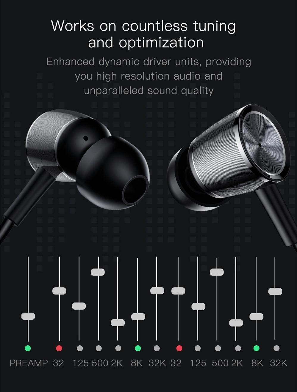 Baseus Encok H07 Hi-Res Audio 3.5m Jack Earphone Metal CD Stripes Stereo Bass In-ear Headphone