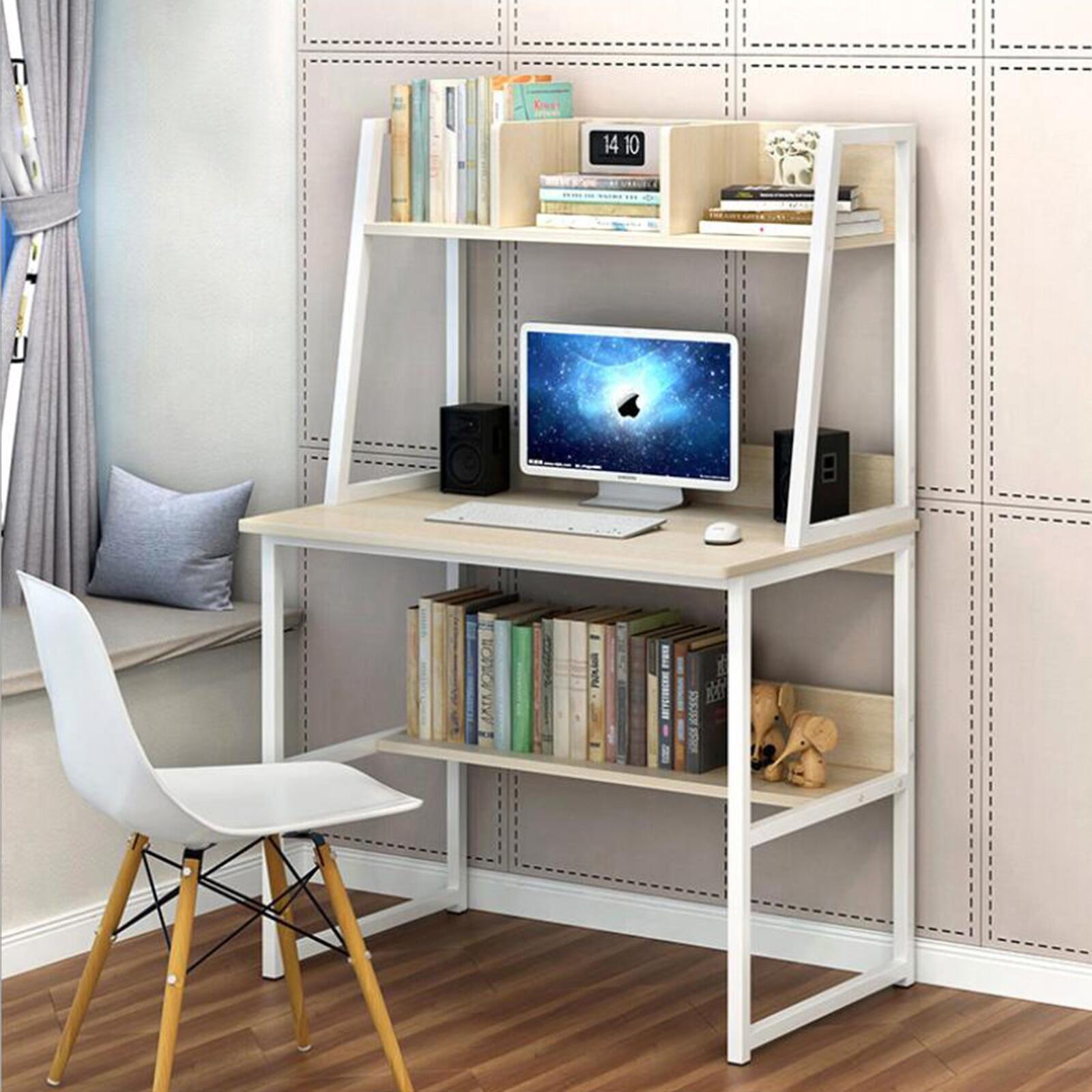 Modern Computer Desk With Shelves Pc