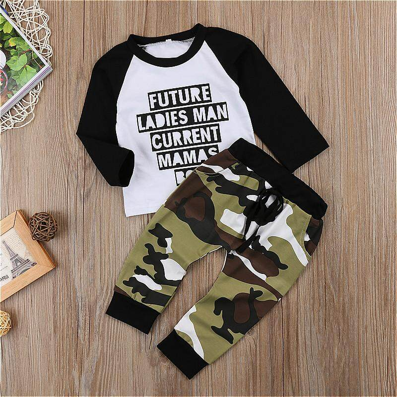 f11082f49 Toddler Kids Baby Boy Camo Outfits Clothes T-shirt Tops+Pants ...
