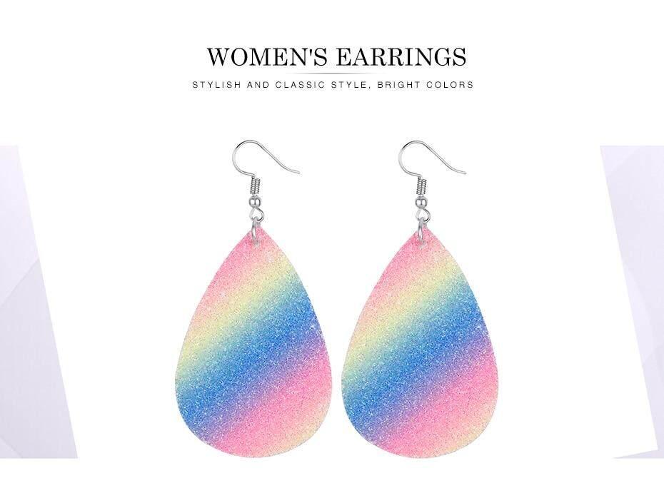 444d70972db0c Bohemia Leather Earrings Glitter Statement Earrings For Women Water Drop PU  Leather Teardrop Big Earrings Fashion Jewelry Wholesale
