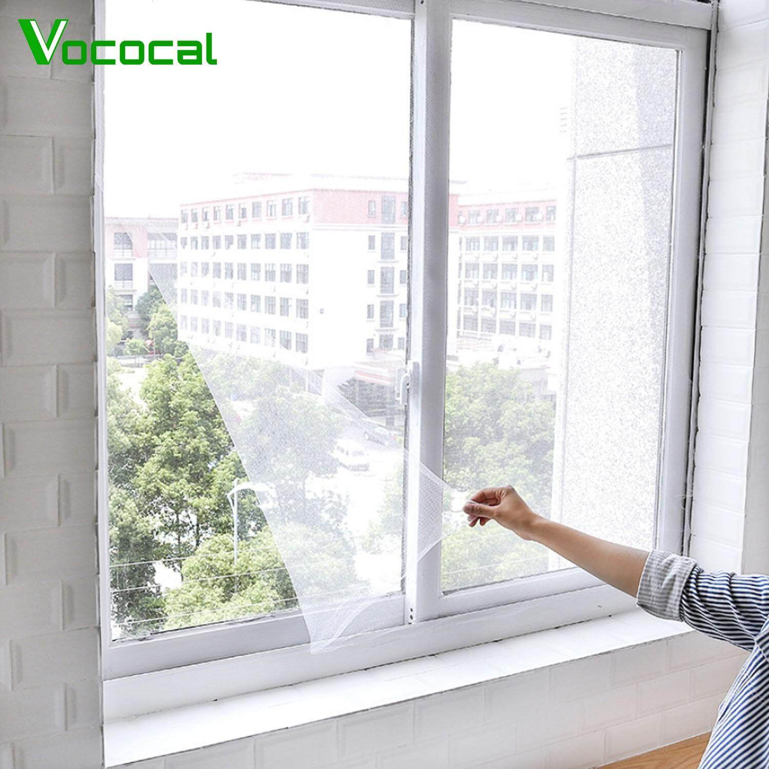 【In stock】Vococal 2PCS 1 5 x 2m DIY Self-adhesive Window Screen Netting  Mesh Curtain with Hook and Loop Fastener Tape Invisible Insect Mesh Kit
