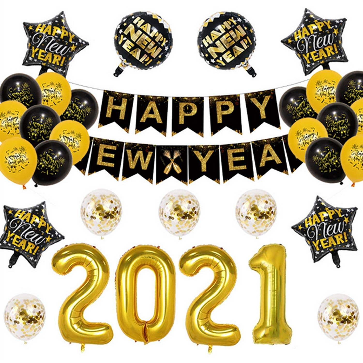 28pcs Party Decorations Kit 2021 Number Foil Balloon Confetti Balloons With Happy New Year Banner For New Years Eve Party Supplies Lazada