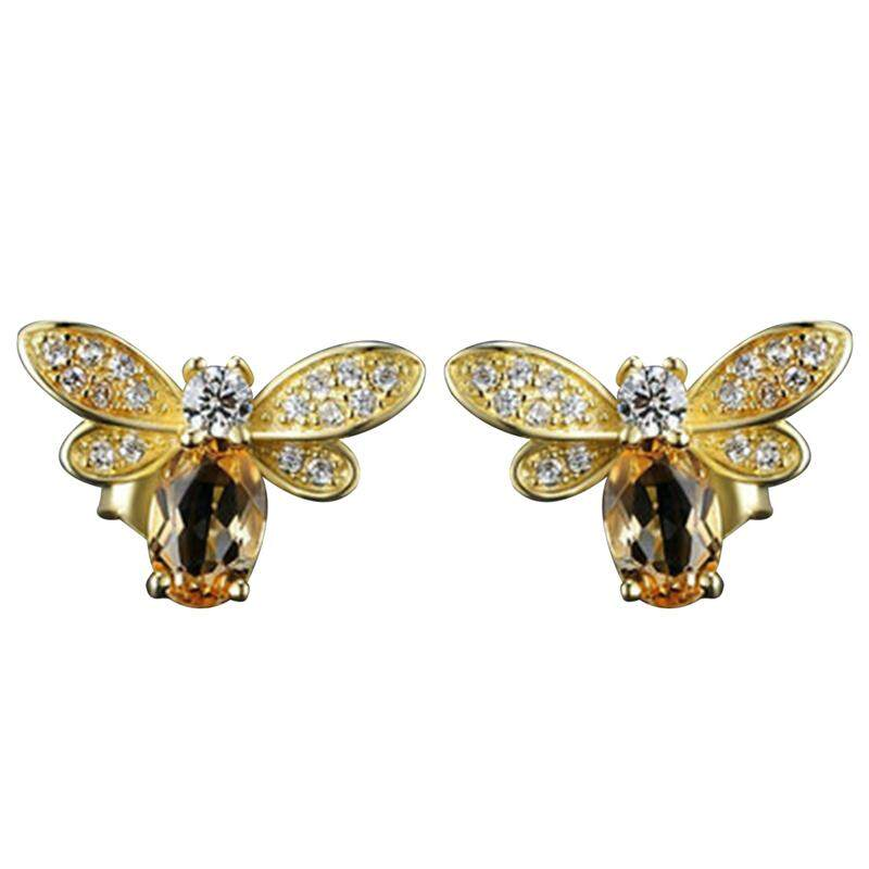 Product details of MeiYang Cute Tiny Bee Earring Jewelry Gold Color Honey Bee Earrings Stud Unique Yellow Crystal Rhinestone Earrings Jewelry For Women