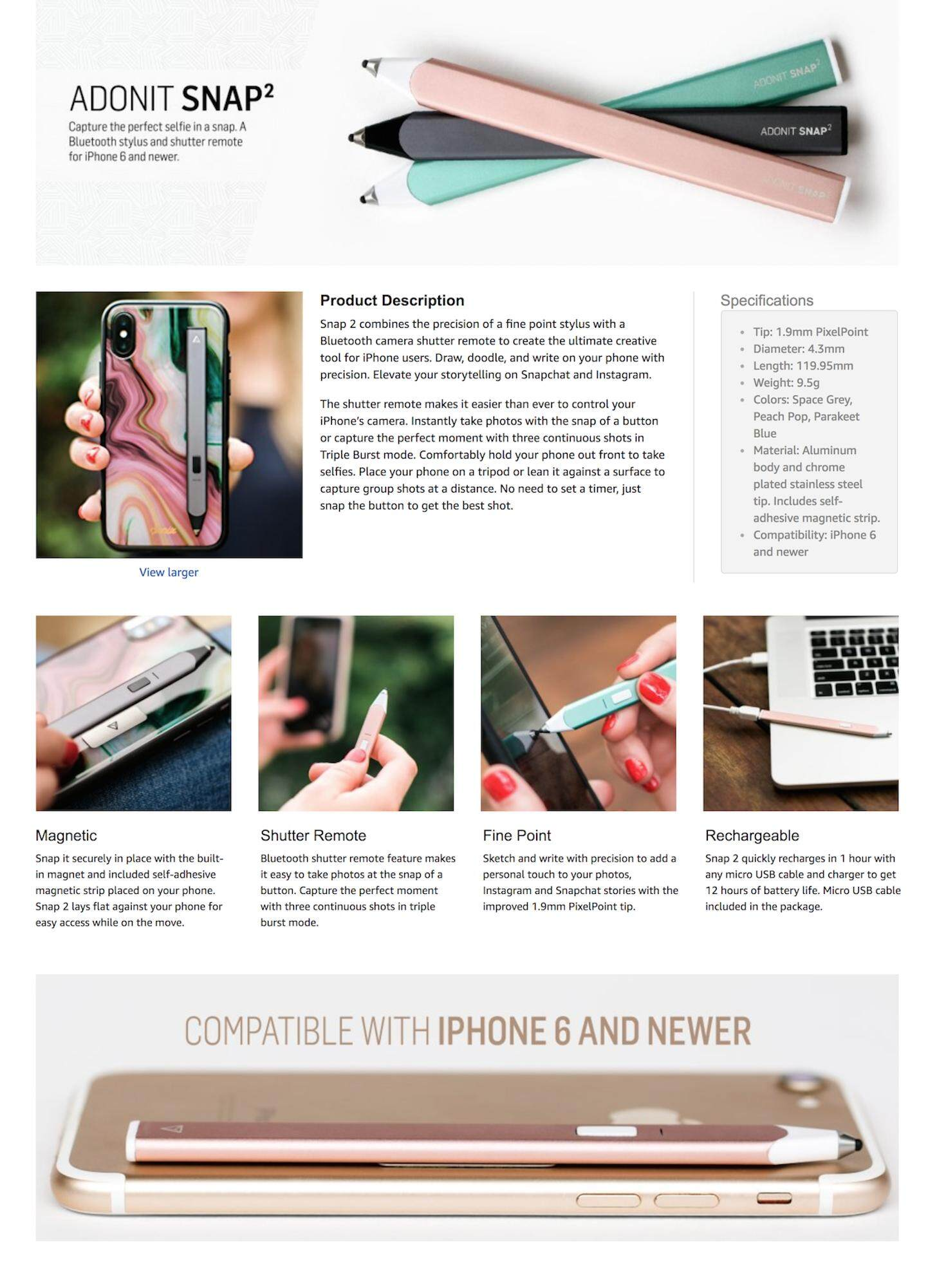 Adonit Snap 2 Bluetooth Selfie Touch Pen with Remote Shutter + Magnetic  Strip Stylus