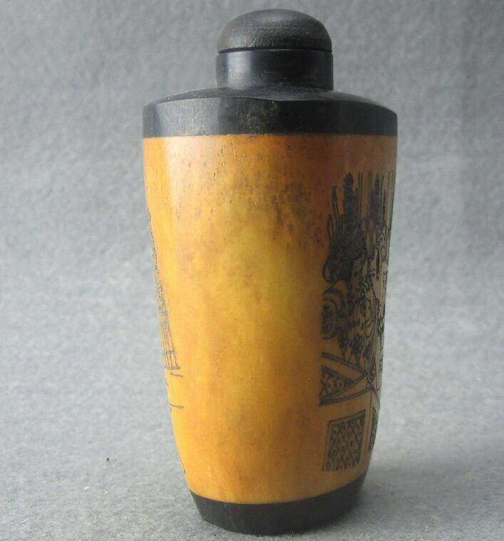 Chinese master Hand-painted Characters the story Cattle Bone snuff bottle