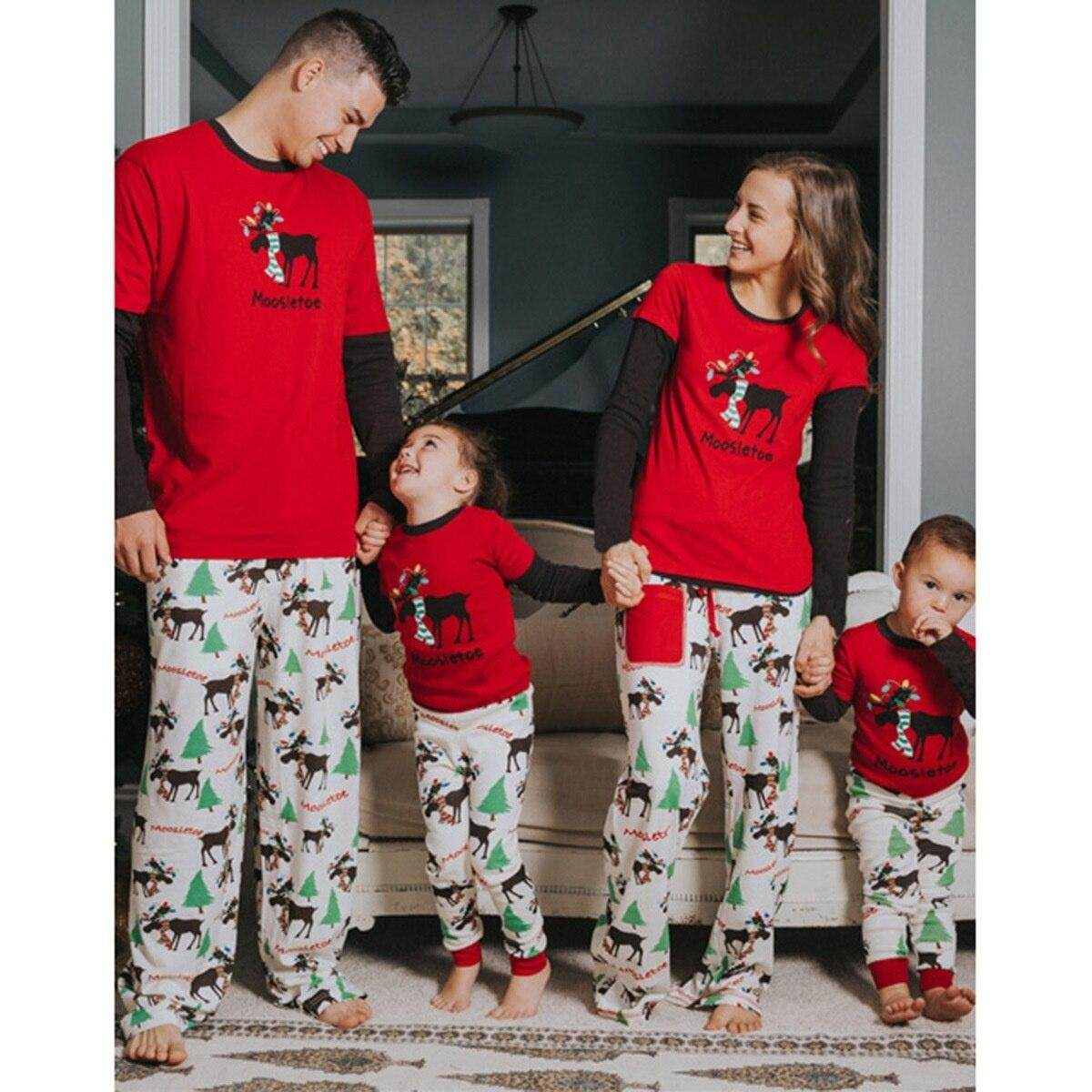 Family Christmas Pajamas With Baby.Family Christmas Pajamas Print Long Sleeve Parent Child Suit Children Sleepwear Mom Dad Baby Set Mommy And Me Clothes Mom