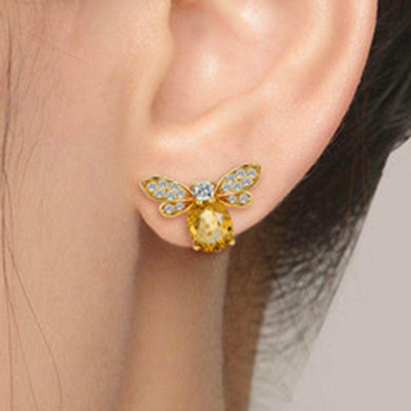 73382fa96 MeiYang Cute Tiny Bee Earring Jewelry Gold Color Honey Bee Earrings Stud  Unique Yellow Crystal Rhinestone Earrings Jewelry For Women Size:1.5 * 1cm