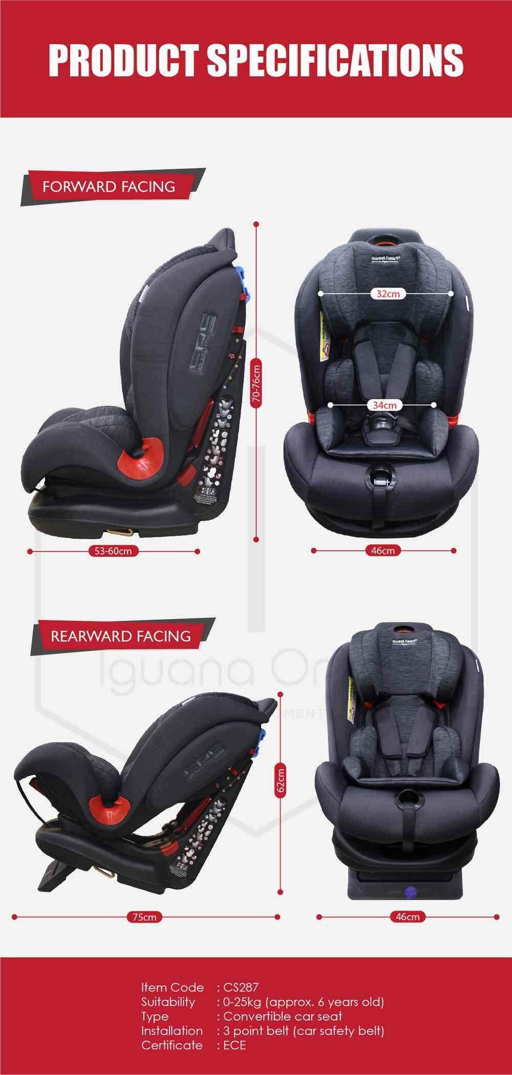 Sweet Heart Paris CS287Car Seat (Black Grey) with Shock Absorption