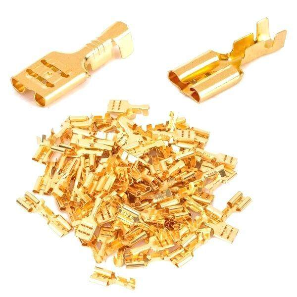 100PCS Non-Insulated 6.3mm Tinned Brass Terminals Connector Spade Female//Male