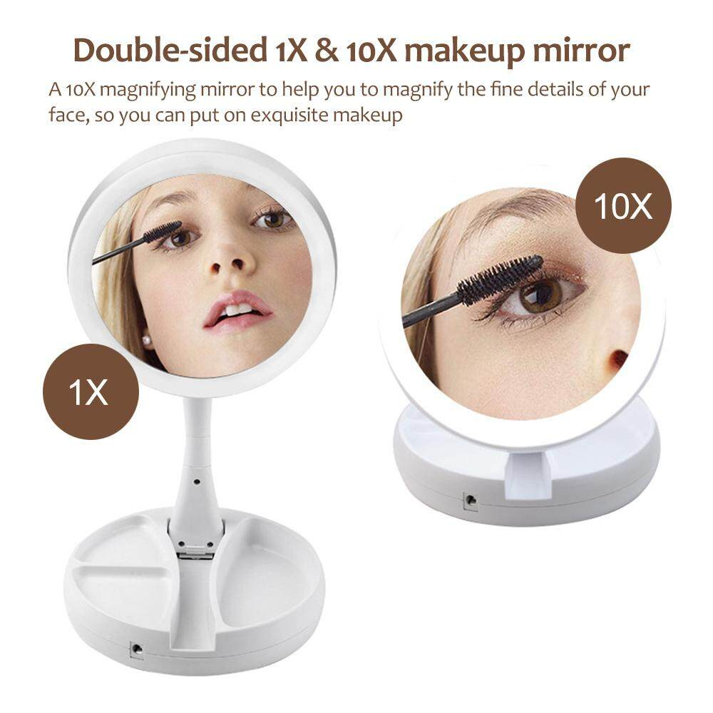 Portable Led Lighted Makeup Mirror Vanity Compact Make Up Pocket Mirrors Vanity Cosmetic Hand Mirror Glasses New Skin Care Tools