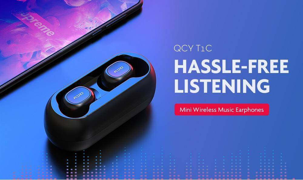QCY T1C Mini Wireless Bluetooth 5.0 Music Earphones- Black