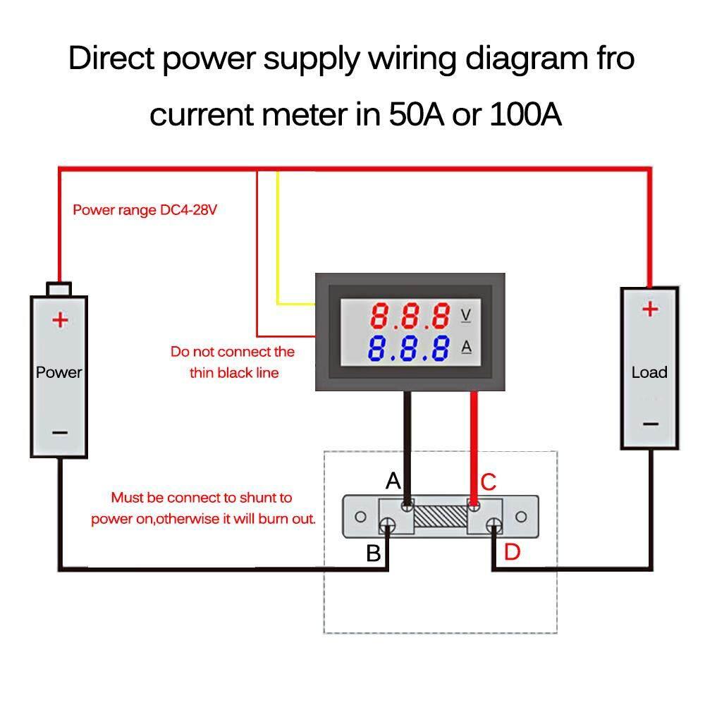 0 28 Led Voltmeter Ammeter Dc5v 100v 50a Digital Multimeter Display Voltage Current Tester Blue Red Dual Digital Display Lazada Ph