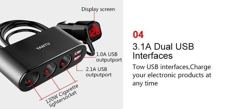 One drag three multi-function electronic double usb one minute three metal  new digital display car phone charger