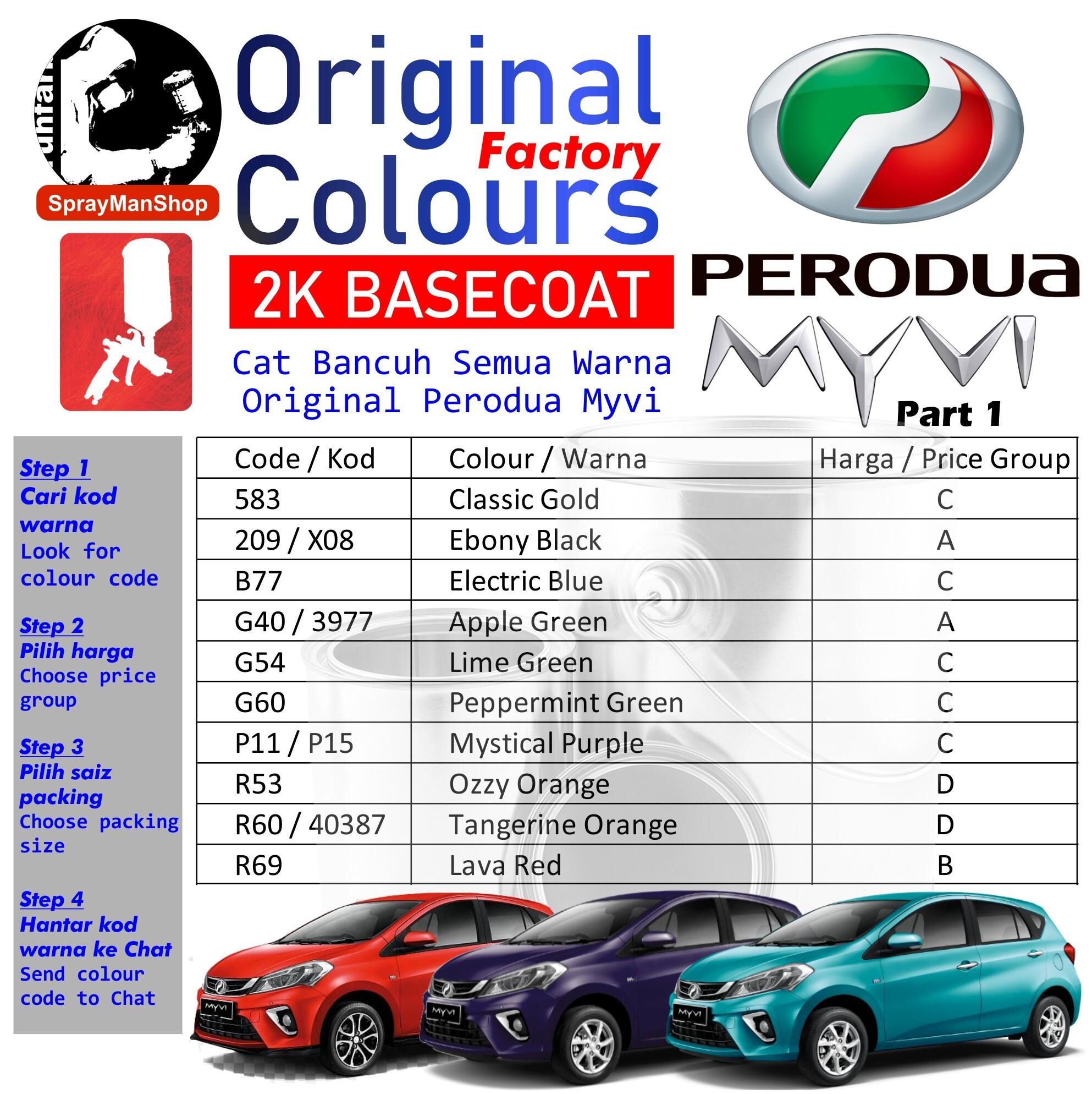 Perodua Myvi Touch Up Aerosol Spray Paint All Original Factory Colours 400ml Lazada