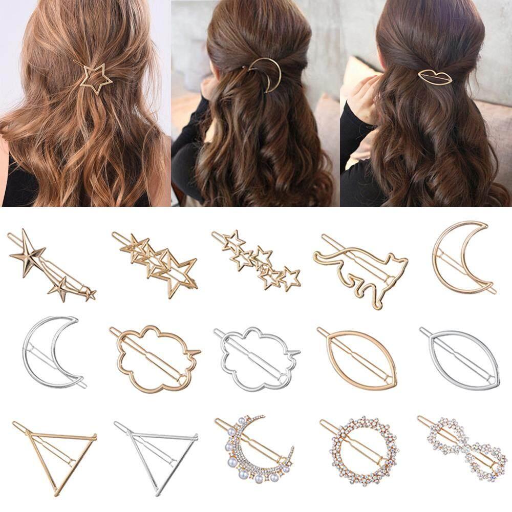 Ladies Girls Triangle Metal Hair Clip Moon Circle Hairgrip Hair Accessories