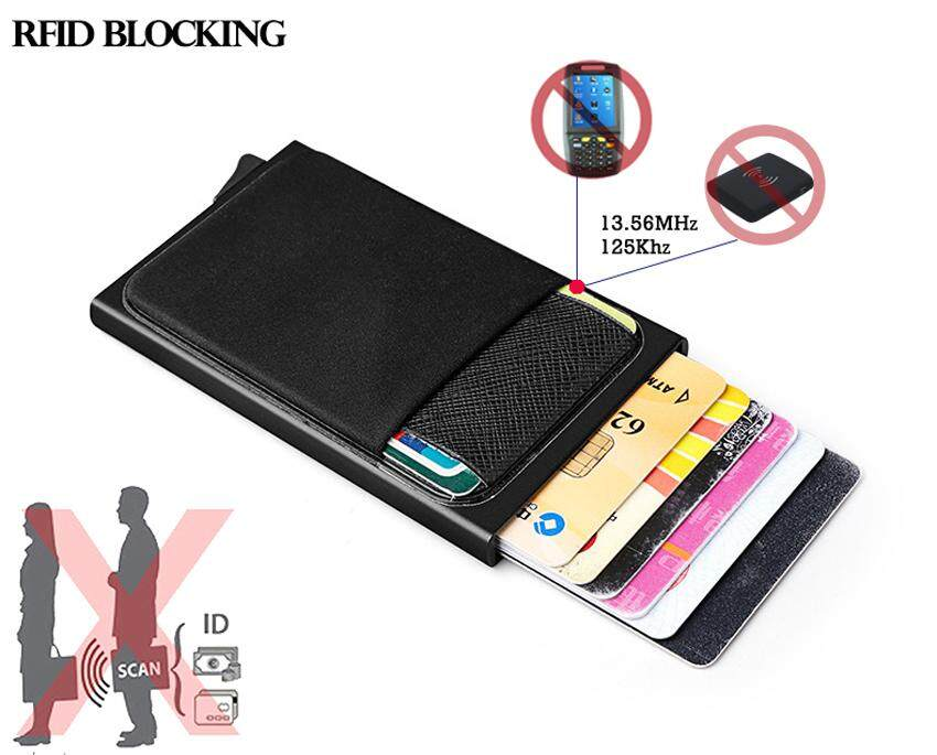 Stainless Steel ID Credit Card Box Holder RFID Blocking Case Wallet Metal Pocket