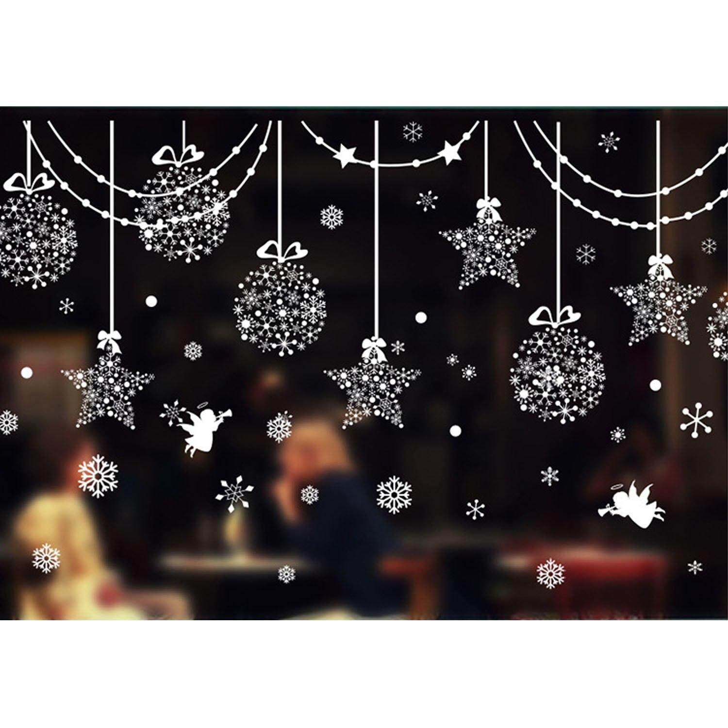 Christmas Window Decals.Christmas Decoration Snowflake Wall Glass Window Decals Stickers Christmas Decor Supplies For Shop Bar Home Navidad Party