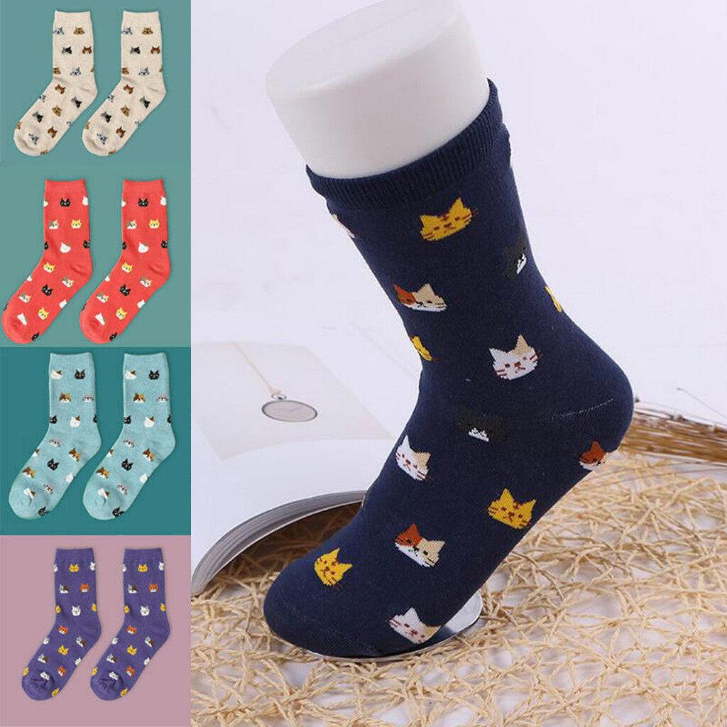 1 Pair Fashion Women Lovely Cute Cat Socks Animal Cartoon Cotton Socks Colorful