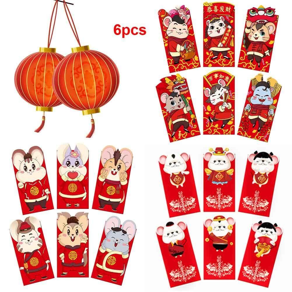 6 Buah Set Pernikahan Tikus Lucky Festival Musim Semi Kertas Kartun Hadiah Tradisional 2020 Tahun Baru Cina Lucu Amplop Merah